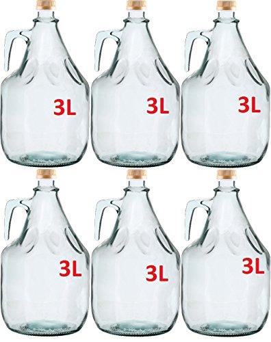 Multidepot 3L BDG3Z – Set di 6 damigiane in vetro da 3 litri