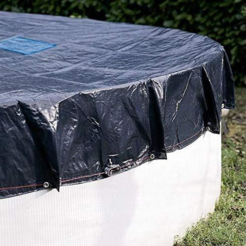 Bâche Piscine 3,6 m pour Piscine diamètre 3 m - Ronde - Filet d'écoulement - Bleu - Résistante - Anti-UV - Œillets