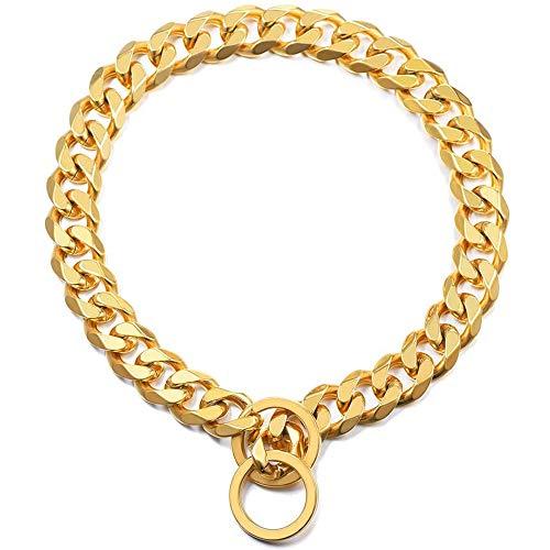 Gouden Halsketting Van Roestvrij Staal Goudkleurige Schakeltraining Overheersend Halsband Voor Honden Choker Met Ronde Lus Voor Kleine, Middelgrote Honden
