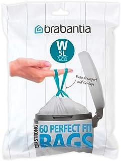 Brabantia PerfectFit - Bolsas de basura con código W (5 L, 180 unidades, plástico, 29,5 x 34 cm), color blanco