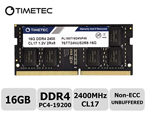 Timetec Hynix IC 16GB DDR4 2400MHz PC4-19200 Non ECC Unbuffered 1.2V CL17 2Rx8 Dual Rank 260 Pin SODIMM Laptop Notebook Computer Memory Ram Module Upgrade(16GB)