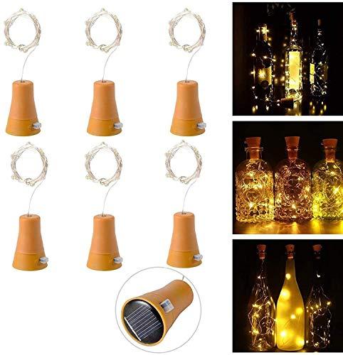 6 Pack Luz de Botella, Luces de Energía Solar para Botellas de Vino, 1m 10LEDs Luces de Cadena con Alambre de Cobre para Bodas Románticas, Fiesta, Hogar, Exterior, Jardín, Blanco(Blanco Cálido)
