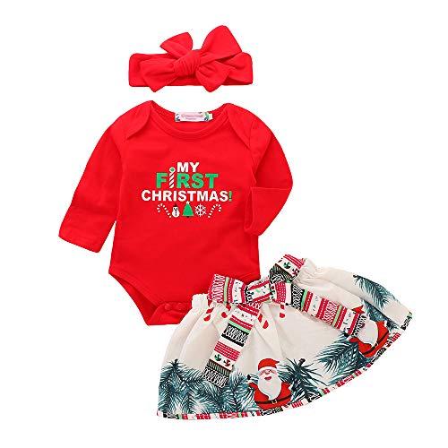 Baby Girl Weihnachtsbody 3-teiliges Set Rundkragenhemd + Bogenrock + Stirnband Druck Cute Fashion Weihnachtsanzug 80cm