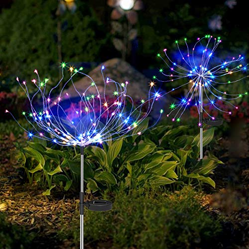 Solar Garden Lights Solar Stake Lights DIY Firework Lights Foldable Branches IP67 Waterproof LED Outdoor Home Decor Artificial Trees for Christmas Birthday Wedding Party (Multi-Colored)