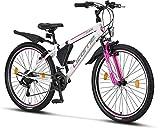 Licorne Bike Guide Premium Mountainbike in 26 Zoll - Fahrrad für Mädchen, Jungen, Herren und Damen - 21 Gang-Schaltung - Weiß/Rosa