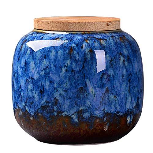 Ceramic Storage Jar Bamboo Lid Food Storage CanisterTea Caddy Storage Jar for KitchenCoffeeTeaand Spices Dark blue