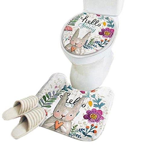 [Queen-b] トイレ マット ふた カバー うさぎ 柄 動物 北欧 おしゃれ かわいい ふわふわ 滑り止め 加工 抗菌 防臭 2点 セット (Aタイプ)