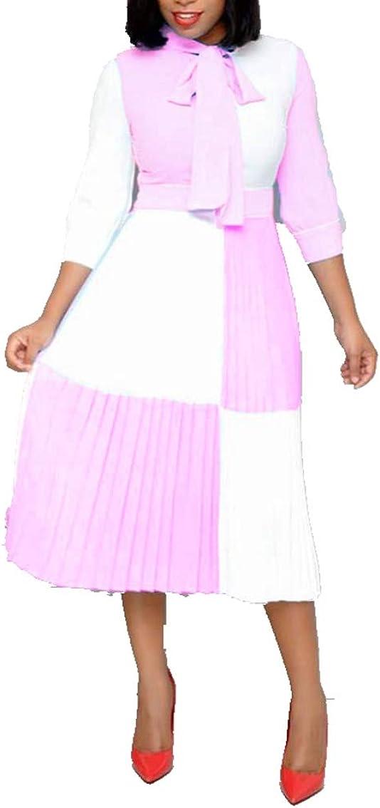 VERWIN Loose Color Block 3/4 Sleeve Women Dress Midi Dress Party Cocktail Evening Dress