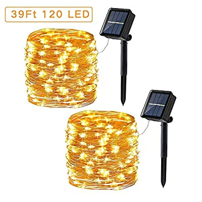 Upgraded Solar String Lights, 2 Pack 39ft 120LED 8 Modes Copper Wire Outdoor String Lights, Waterproof Solar Fairy Lights Rope Lights for Patio, Garden, Yard, Party, Tree Decorations (Warm White)