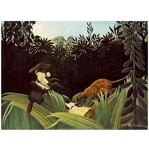 Henri Rousseau Scout Attacked by a Tiger 1904 Oil Painting Canvas Reproductions Wall Art Print Modern Decor Artwork -24x36 Pouces sans Cadre