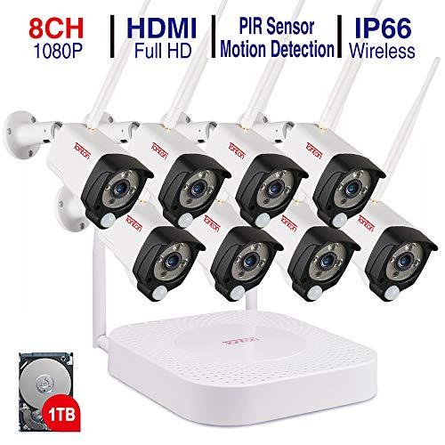 Tonton Full HD Wireless bewakingscamera systeem 1080P bewakingscamera 2.0 MP, 30M nachtzicht PIR sensor metalen behuizing draadloze audio-overdracht PIR bewegingsmelder buiten snelle toegang 1TB HDD