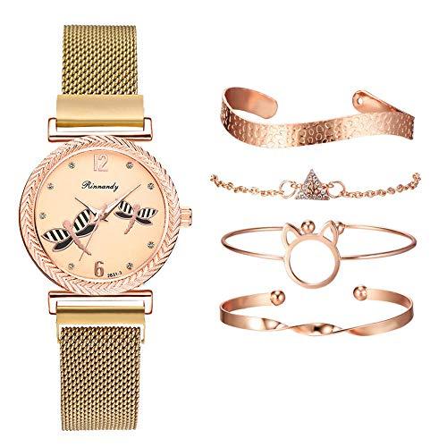 Powzz ornament Reloj de pulsera de cuarzo 2020 con diseño de libélula y pulsera para mujer