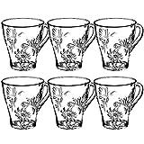 KADAX Juego de 6 vasos de té, vasos con asa, vasos de agua, vasos de zumo, vasos de cristal, juego de vasos para té, café, agua, té helado, zumo, jardín, vasos aptos para lavavajillas (Erna, 250 ml)