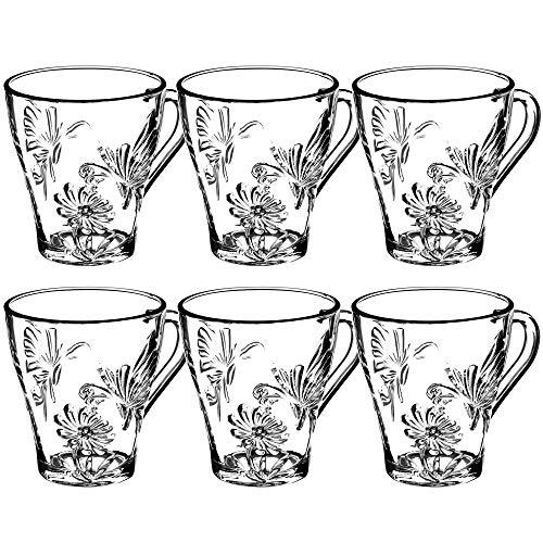 KADAX Teegläser, 6er Set, Gläser mit Griff, Wassergläser, Saftgläser, Glastassen, Gläserset für Tee, Kaffee, Wasser, Drink, Eistee, Saft, Garten, Trinkgläser, spülmaschinenfest (Erna, 250ml)