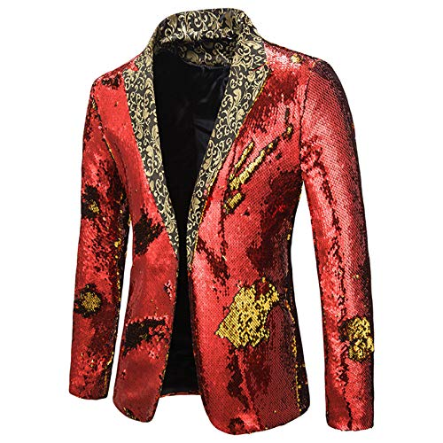 Mr.BaoLong&Miss.GO Autumn and Winter New Men Performance Suits Two-Color Sequins European and American Men Suits Stage Costumes Nightclub Bar Dj Suits Red