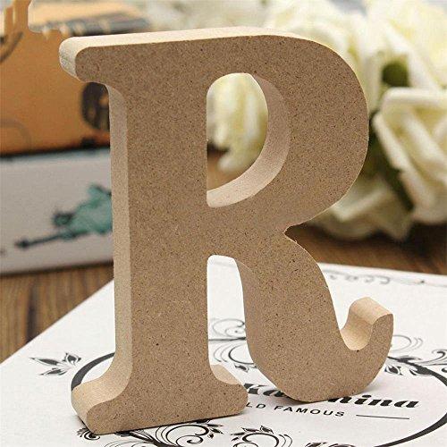 Freeas Dekorative Holz Buchstaben, hängende Wand 26 Buchstaben aus Holz Alphabet Wand Buchstaben für Kinder Baby Name Mädchen Schlafzimmer Hochzeit Geburtstag Party Home Decor-Briefe (R)