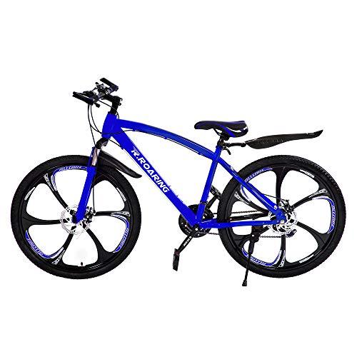 R.ROARING Mountain Bike 21 Speed Double Disc Brake 26-inch Wheels 6 Spoke Bicycle for Adult or Teens, Blue