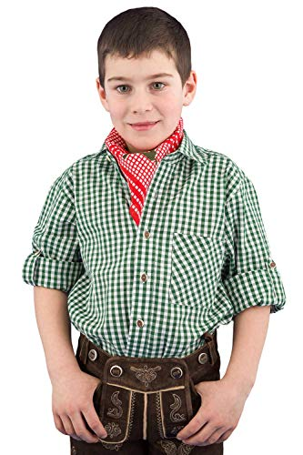 Isar-Trachten Trachtenhemd Kinder Jungen 52915 Kinderhemden Jungen Trachtenhemd grün Kariertes Hemd Kinder Jungen - 164