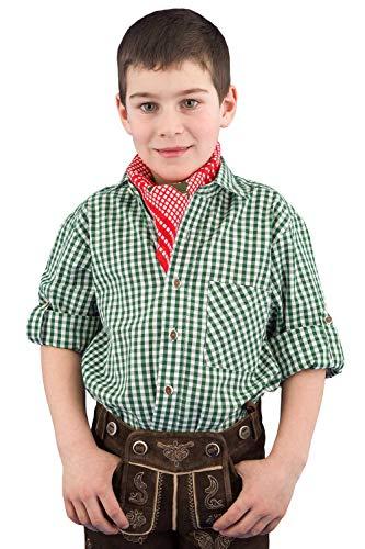 Isar-Trachten Trachtenhemd Kinder Jungen 52915 Kinderhemden Jungen Trachtenhemd grün Kariertes Hemd Kinder Jungen - 98