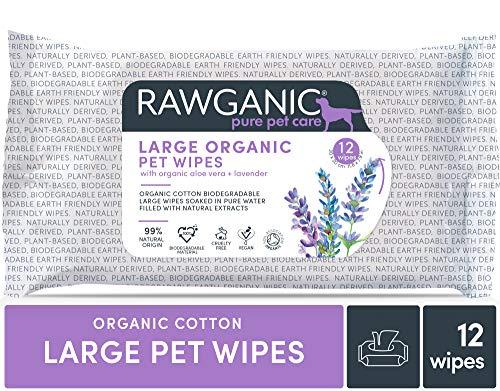 Rawganic Bio Pet Wipes - Toallitas húmedas para limpieza de mascotas, extra grandes (2 paquetes)