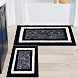 Colorxy Bathroom Rugs and Mats Sets, 2 Pcs Ultra Soft Microfiber Bath Mat, Non Slip Machine Washable and Water Absorbent Shower Carpet Mat for Bathroom, Tub and Shower, 20'x32'+17'x24', Black