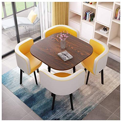 DYYD Simple Table and Chair Combination Office Meeting Room Leisure Table Balcony Terrace Tea Table Living Room Kitchen Dining Table and Chairs Hotel Corridor Reception Room Coffee Shop Beauty Salon D