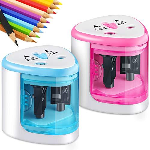 2 Stücke Doppel Löcher Elektrischer Anspitzer Auto Bleistiftspitzer Batteriebetriebene Bleistift Anspitzer für Schule Klassenzimmer Büro Haus