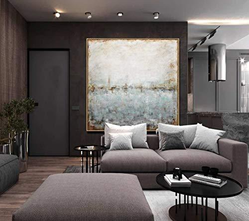 DRTWE Ölgemälde,Moderne Impressionistische Quadrat Von Hand Bemalt Gemälde Auf Leinwand Wandkunst Wandbild Für...