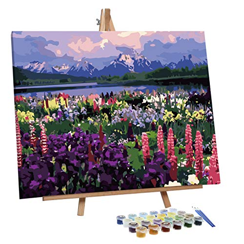 VIGEIYA Paint by Numbers for Adults Beginners with Framed Canvas and Easel Including Acrylic Paints Paintbrushes 16x20in (Lavender)