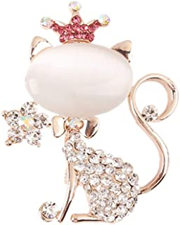 YAZILIND Rhinestone Broche Pines Kitty Cat Tiaras Breastpin Ramillete Amigos Mujeres Joyas Regalo