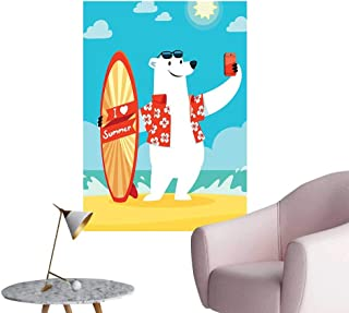 Wall Art Prints Polar Bear Love Surfboard Taking Selfie at The Beach Comic Fun for Living Room Ready to Stick on Wall,32