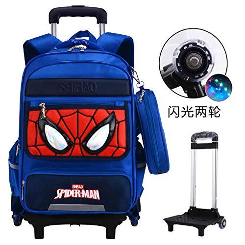 Nwarmsouth Wheeled Waterproof Bookbag,Primary school trolley bag, children's ridge 6-12 years old burden waterproof backpack,B-2 round,Rolling Backpack for Boys