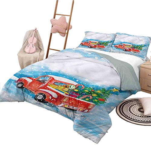 Nomorer Bed Sheets Queen Size Christmas Quilt Cover with Pattern Truck Winter Scenery