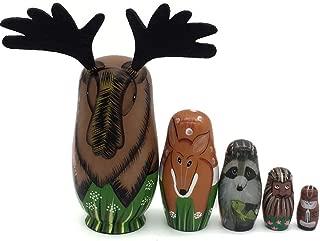 Konrisa Russian Nesting Dolls ,Set of 5 Pieces Elk Animal Figurines Handmade Wooden Stacking Dolls Matryoshka Russian Dolls Education Toys for Kids Children Halloween Xmas Gifts Home Decoration
