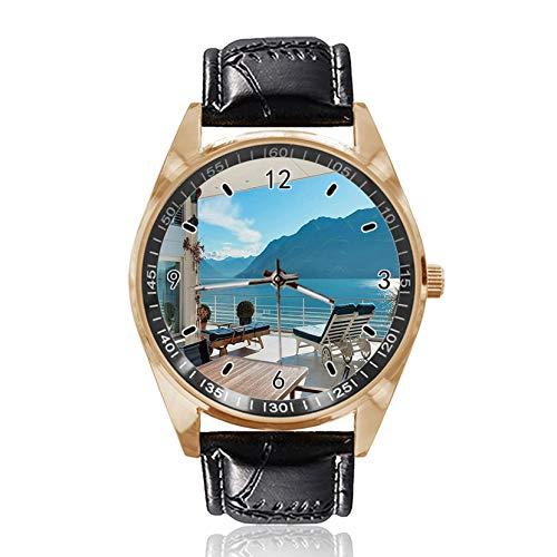 Lake Outside Deckchairs Custom Design Armbanduhr Analog Quarz Gold Zifferblatt Classic Lederband Damen Herren Armbanduhr