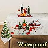 OurWarm Christmas Tablecloth Santa Snowflake Engineered Printed Xmas Table Runner 70 x 60inch Rectangular