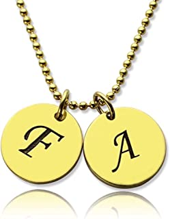 Customized Name Necklace Initial Discs Necklace Jewelry Custom Christmas Gift