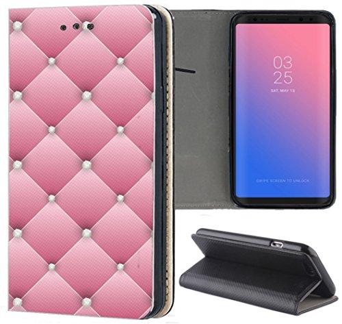 Samsung Galaxy S7 Edge G935F Hülle Premium Smart Einseitig Flipcover Hülle Samsung Galaxy S7 Edge G935F Flip Case Handyhülle Samsung Galaxy S7 Edge G935F Motiv (551 Abstract Rosa Weiß)