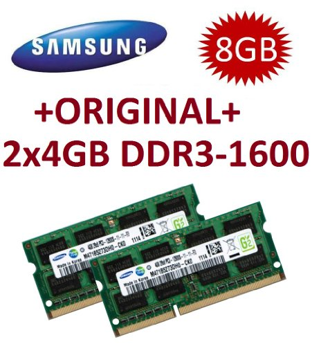 Samsung 8 GB Dual Channel Kit 2 x 4 GB 204 Pin DDR3 – 1600 SO-DIMM (1600 MHz, PC3 – 12800S, CL11)