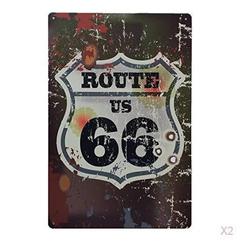 PETSOLA 20x30cm Vintage Cartel De Chapa Taberna Elegante Placa Bar Metal Decoración De Pared Cartel Retro - # 2 Ruta 66
