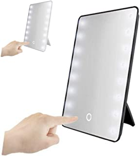 fumak Locker Mirror - 16 LED Lighted Makeup Mirror with Light Lamp Portable Touch Screen Cosmetic Mirror Beauty Desktop Vanity Table Stand Mirrors