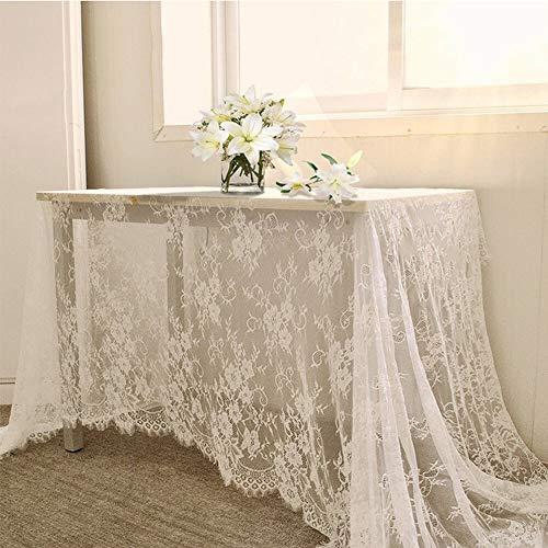 PowerBH 59x118 Pollici Tovaglia Bianca Classica Tovaglia da Sposa Vintage in Pizzo Tovaglia Decorazione da tavola per la casa
