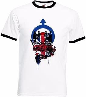 Men's Union Jack Mod Scooter Roundel Target Northern Soul Ringer T Shirt