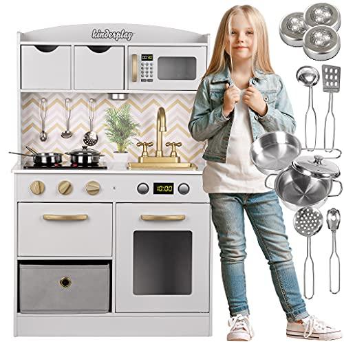 Kinderplay Grande Cucina Giocattolo per Bambini - Legno Vintage Bianca Accessori per Cucina, Cucina per Bambini, Gioco...