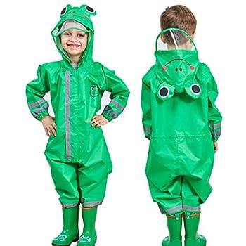 Enfants Imperméable, Combinaison Enfant Imperméable Encapuchonné Pluie Résistant 7-10 years,Vert