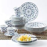KAHLA 410852A75056H Blau Saks Geschirrset für 6 Personen Porzellanservice 30-teilig blauweiß rund Vintage Blumenmuster Kombiservice Tellerset + Kaffeeservice...