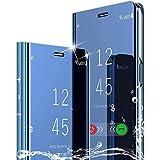 WINMI per iPhone 12 PRO 6.1' Cover,[Supporto] Protettivo 360°Smart Electroplate Mirror Case Clear View Flip Cover Custodia per iPhone 12 PRO 6.1' Smartphone-Blu