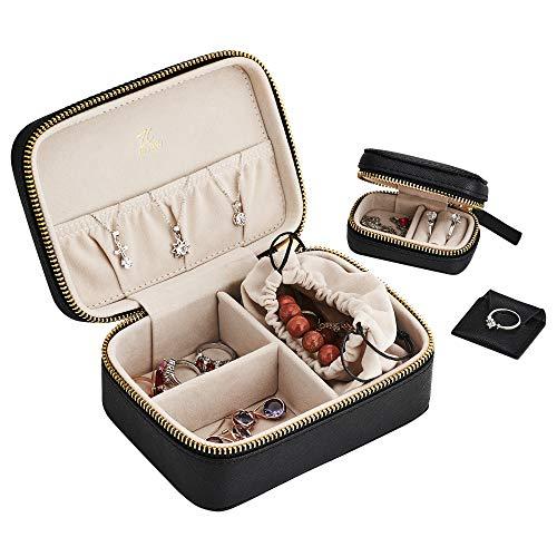 LH Joyero de viaje Caja de joyería de cuero de vaca de una sola capa Organizador de joyas para collar y pendientes, con una mini caja y un bonito saco en el interior, negro