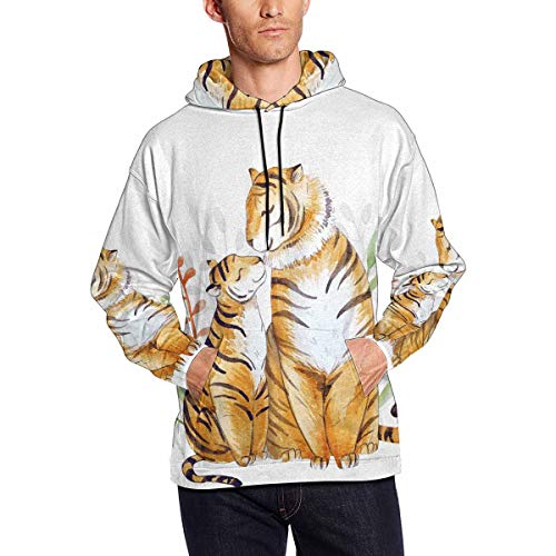 Watercolor Tiger Men's Hoodies Sweatshirt Pullover XL