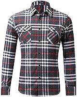 XI PENG Men's Dress Long Sleeve Flannel Shirt Thermal Plaid Checkered Jacket (Light Grey, X-Large)